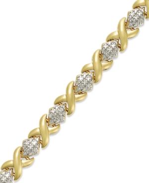 18k Gold over Sterling Silver-Plated Bracelet, Diamond Accen
