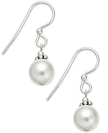 Jody Coyote Sterling Silver Earrings, White Crystal Pearl (8mm) Drop Earrings
