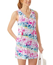 Printed Split-Neck Cover-Up Dress