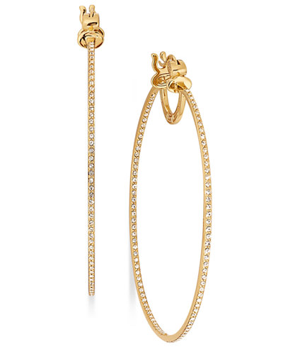 SIS by Simone I Smith 18k Gold over Sterling Silver Earrings, Eternal Love-In-and-Out Crystal Hoop Earrings