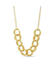 Yellow Gold-Tone Interlocking Circle Necklace