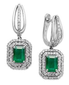 14k White Gold Earrings, Emerald (2 ct. t.w.) and Diamond (3/4 ct. t.w.) Drop Earrings