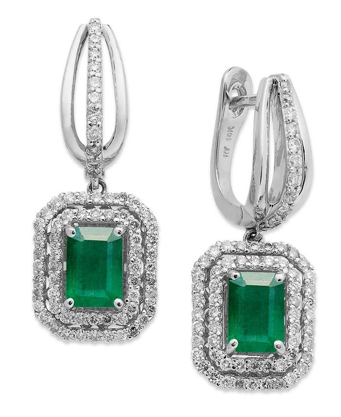 Macy's - 14k White Gold Earrings, Emerald (2 ct. t.w.) and Diamond (3/4 ct. t.w.) Drop Earrings