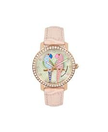 Women's Lovebirds Paradise Pink Leather Strap Watch, 38mm