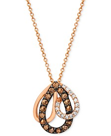 Chocolate by Petite Le Vian® Diamond (1/3 ct. t.w.) Pendant Necklace in 14k Rose Gold