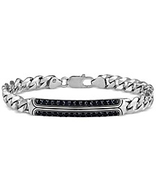Black Sapphire Curb Link Bracelet (2-3/4 ct. t.w.) in Sterling Silver, Created for Macy's