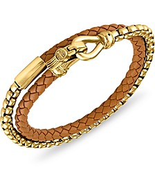 Black Leather Double Wrap Bracelet in Stainless Steel (also in Brown Leather), Created for Macy's