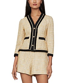 Contrast-Trim Tweed Blazer