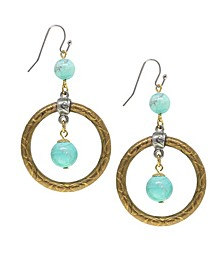 by 1928 Brass Genuine Dyed Howlite Turquoise Color Hoop Earrings