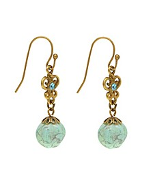 by 1928 Gold Tone Genuine Howlite Dyed Turquoise Drop Earrings
