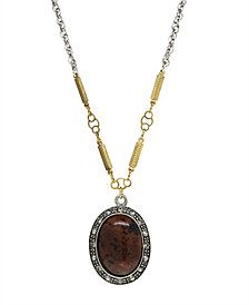 T.R.U. by 1928 Silver Tone Genuine Brown Obsidian Oval Necklace