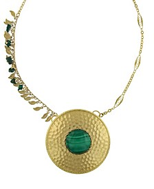 by 1928 14 K Gold Dipped Leaf Fringe Semi-Precious Malachite Hammered Disk Necklace