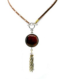 by 1928 Copper Leather Genuine Tiger Eye Toggle Tassel Necklace