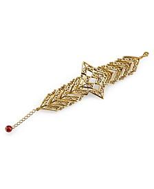 by 1928 Matte14 K Gold Dipped Filigree Chevron with Semi-Precious Carnelian Bracelet