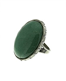 by 1928 Semi-Precious Green Aventurine Ring with Side Accent Swarovski Crystals