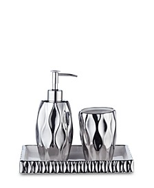 Silver Wave 3 Piece Bath Accessory Set