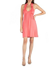 Halter Top Knee Length Dress with Ruffle Detail