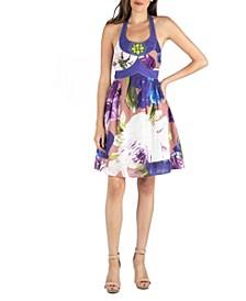 Floral Print Beaded Halter A-Line Dress