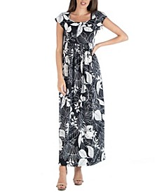 Empire Waist Scoop Neck Floral Print Maxi Dress