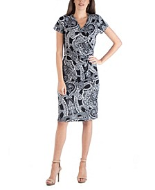 Paisley Wrap over Style Midi Dress