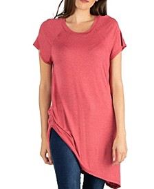 Capped Sleeve T-Shirt with Asymmetric Hemline