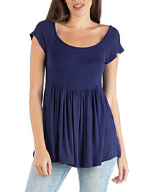 24seven Comfort Apparel Women's Tunic Top with Cap Sleeve and Fitted Waist