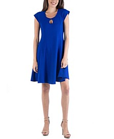 Scoop Neck A-Line Dress with Keyhole Detail