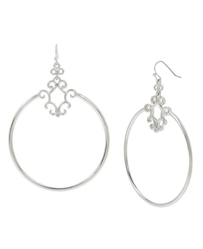 """Jessica Simpson - Openwork Gypsy Hoop Earrings, 3.25"""""""