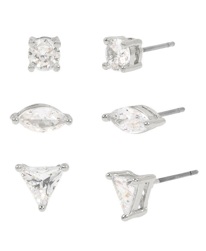 "Jessica Simpson - Geometric CZ Stone Stud Earrings Set, 0.2""-0.3"""