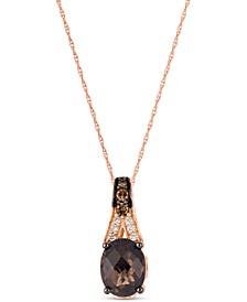 "Chocolate Smoky Quartz (1-3/4 ct. t.w.) & Diamond (1/4 ct. t.w.) 18"" Pendant Necklace in 14k Rose Gold"