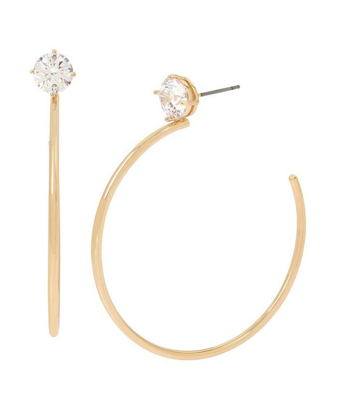 "Jessica Simpson - CZ Stone Hoop Earrings, 2.3"""