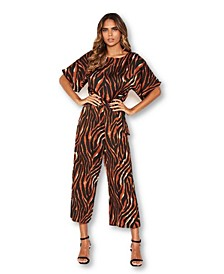 Women's Tiger Print Belted Culotte Jumpsuit