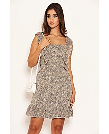 Women's Printed Frill Mini Dress