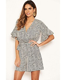 Women's Printed Wrap Frill Romper with Tie Belt