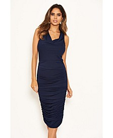 Women's Cowl Neck Ruched Side Bodycon Midi Dress