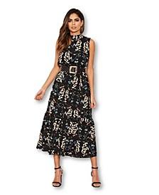 Juniors' Paisley Frill Midi Dress
