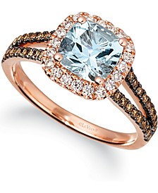 Sea Blue Aquamarine (1 ct. t.w.) & Diamond (3/8 ct. t.w.) Ring in 14k Rose Gold
