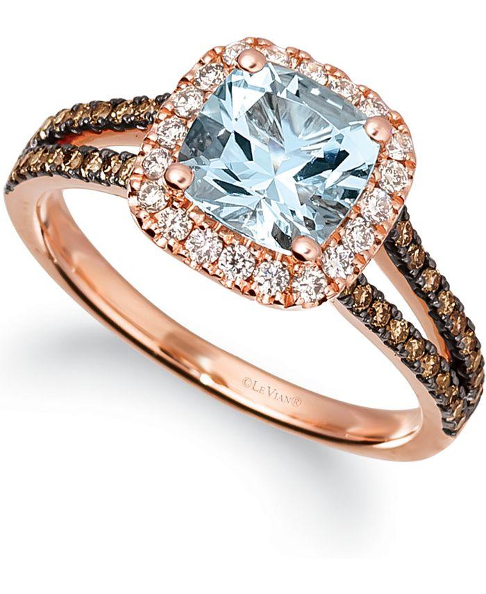Le Vian - Sea Blue Aquamarine (1 ct. t.w.) & Diamond (3/8 ct. t.w.) Ring in 14k Rose Gold