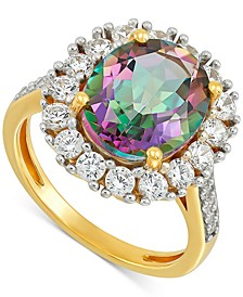 Mystic Topaz (5-5/8 ct. t.w.) & Cubic Zirconia Statement Ring in 14k Gold-Plated Sterling Silver