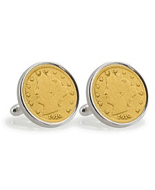 Gold-Layered Liberty Nickel Sterling Silver Coin Cuff Links