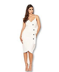 Junior's Button Front Detail Bodycon Midi Dress