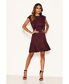 Women's Lace Tie Front Frill Dress