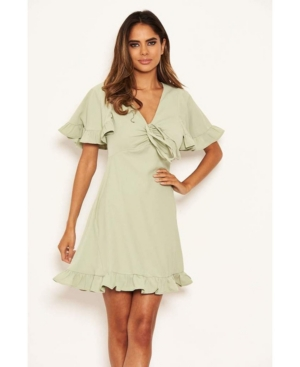 Women's Ruched Front Frill Swing Dress