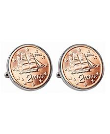 Greek 2-Euro Coin Cufflinks