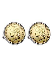 Italian Republic Coin Bezel Cuff Links