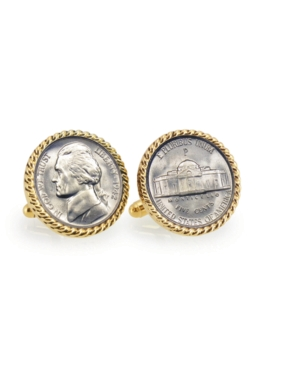 Silver Jefferson Nickel Wartime Nickel Rope Bezel Coin Cuff Links