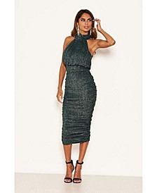 Women's Sparkle High Neck Ruched Midi Dress