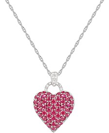 Sapphire (1-3/4 ct. t.w.) and  Diamond Accent Heart Pendant Necklace in Sterling Silver
