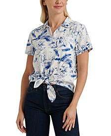 Printed Tie-Front Collared Shirt