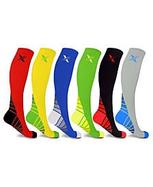 Men's and Women's Sports Compression Socks - 6 Pair
